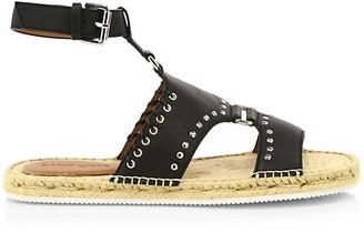See by Chloe Yuna Whipstitch Flat Leather Espadrille Sandals
