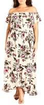 City Chic Lolita Floral Off the Shoulder Maxi Dress