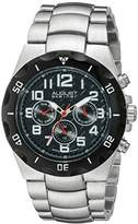 August Steiner Men's AS8161SSB Silver and Black Multifunction Swiss Quartz Watch with Black Dial and Silver Bracelet