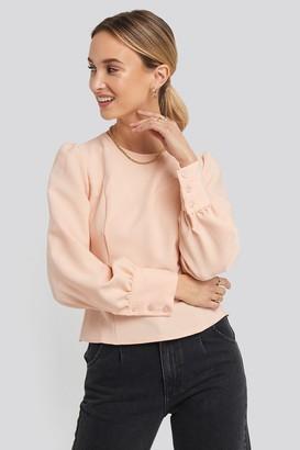 Puff Sleeve Short Blouse Pink