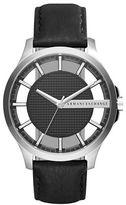 Armani Exchange Hampton Stainless Steel Textured Leather Strap Chronograph
