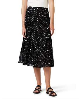 David Lawrence Spot Pleat Skirt
