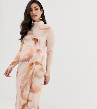 ASOS DESIGN Maternity Feather smudge print Slinky bodycon dress