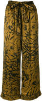Gold Hawk floral wide leg trousers