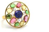 Tresor Collection - Tanzanite, Tsavorite Garnet, Multicolor Tourmaline and Diamond Ring in 18K Yellow Gold