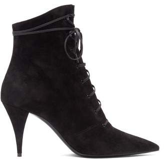 Saint Laurent Kiki Pointed Lace-up Suede Boots - Black