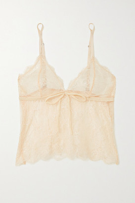 LOVE Stories Dawn Bow-detailed Scalloped Lace Bralette - Pink