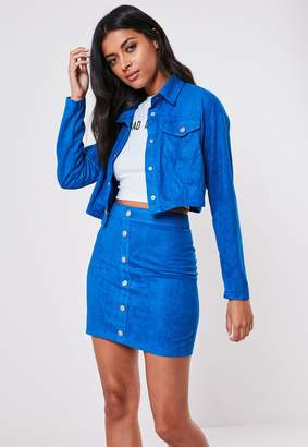 Missguided Blue Co Ord Faux Suede Trucker Cropped Jacket