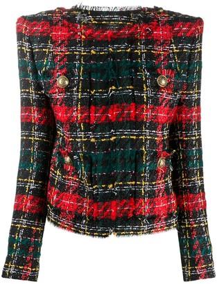Balmain Tartan Boucle Tweed Blazer