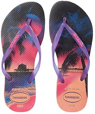 Havaianas Slim Paisage Flip Flops (White/Light Green) Women's Sandals
