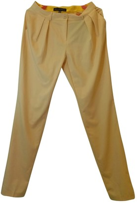 Philipp Plein Yellow Cotton Trousers