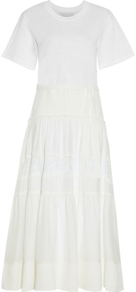 3.1 Phillip Lim Chantilly Lace-trimmed Crepe And Jersey Midi Dress