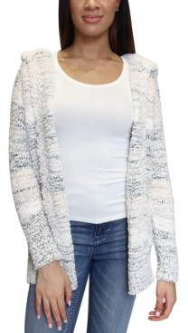 Crave Fame Juniors' Hooded Faux-Sherpa-Trim Cardigan