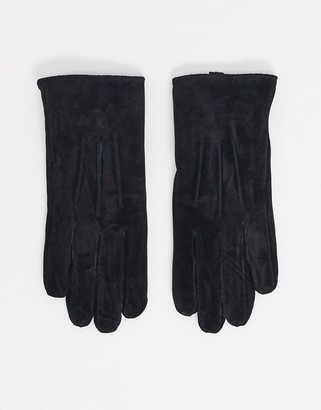 Barneys New York real suede gloves in black