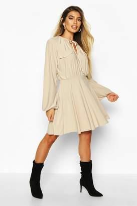 boohoo Pocket Front Volume Sleeve Skater Dress