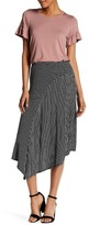 Bobeau Striped Asymmetrical Skirt