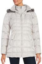Nautica Faux Fur Trim Hooded Puffer Coat
