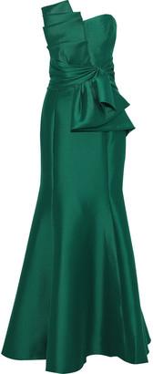 Badgley Mischka Strapless Knotted Duchesse-satin Gown