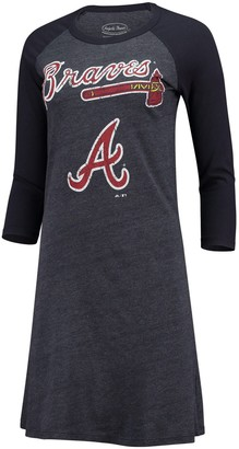 Majestic Women's Threads Navy Atlanta Braves Tri-Blend 3/4-Sleeve Raglan Dress