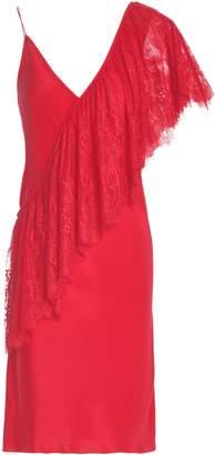 Diane von Furstenberg Lace-paneled Silk Crepe De Chine Mini Dress