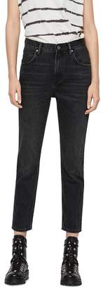 AllSaints Brooke High-Rise Cropped Straight-Leg Jeans in Washed Black