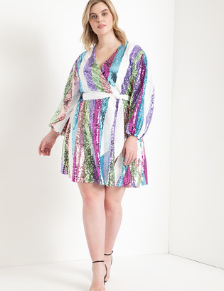 ELOQUII Sequin Wrap Dress