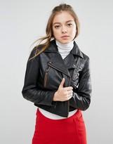 Asos Leather Biker Jacket with Zip Detail