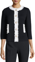 St. John Santana Knit Contrast Fringe-Trim Jacket, Black/White