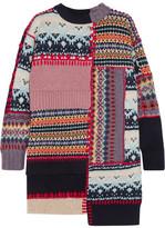 Alexander McQueen Patchwork Chunky-knit Wool-blend Dress - Navy