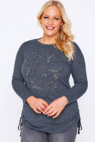 Yours Clothing Navy Marl Sequin 'Glam' Fine Knit Top With Long Sleeves