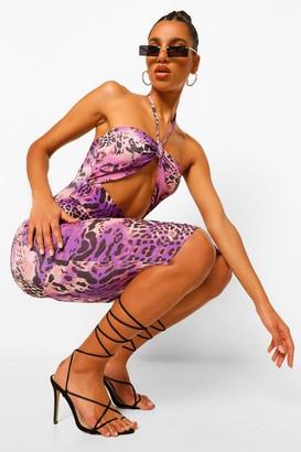 boohoo Animal Print Cut Out Halterneck Midi Dress