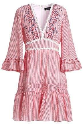 Saloni Embroidered Striped Cotton-Blend Seersucker Min Idress