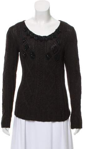 Prada Medium-Weight Bead-Embellished Sweater
