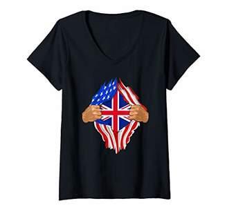 Womens British Blood Inside Me | United Kingdom UK Flag Gift V-Neck T-Shirt