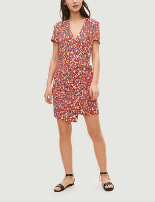 Claudie Pierlot Rosacee floral-print V-neck woven mini dress