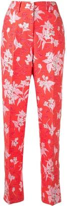 DELPOZO Floral Jacquard Straight-Leg Trousers