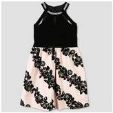 Lots of Love by Speechless® Girls' Floral Printed Sleeveless Dress - Black/Blush Peach