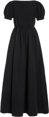 STAUD Alix Open-Back Brushed Faille Maxi Dress