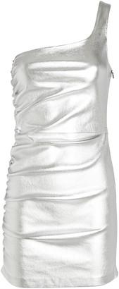 Sprwmn One-Shoulder Leather Mini Dress