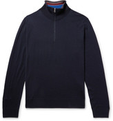 Paul Smith Merino Wool Half-zip Sweater - Midnight blue