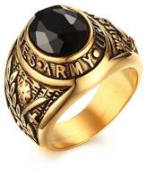 "XIMAKA Men's Jewelry 316l Stainless Steel Engraved ""United States Army"" Red/Black Onyx Diamond 18K Gold Ring"
