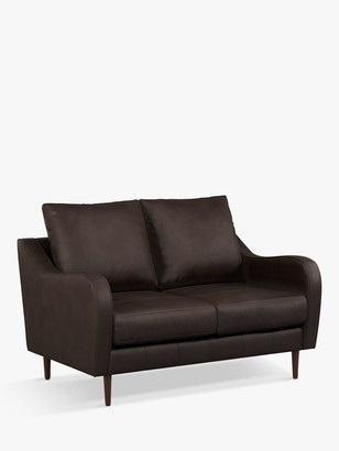 John Lewis & Partners Harp High Back Small 2 Seater Leather Sofa, Dark Leg, Demetra Charcoal