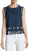 Love Sam Sleeveless Crossover-Back Denim Tank, Dark Blue
