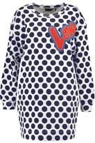 Love Moschino Appliquéd Polka-Dot Cotton-Jersey Mini Sweater Dress