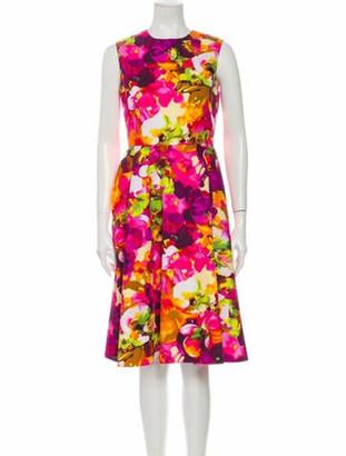 Valentino Floral Print Midi Length Dress Pink
