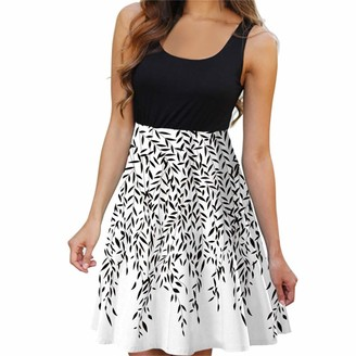 Kanpola Women Casual Sleveless Print Casual Beach Vintage Fashion Lady Short Mini DressDresses Maxi Prom Evening Summer Womens Clothing Black Dress