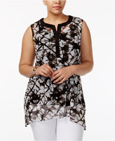 Alfani Plus Size Printed Layered Tunic, Created for Macy's