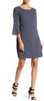 Dex Bell Sleeve Boatneck Printed Shift Dress