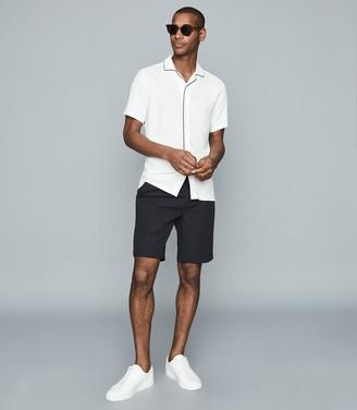 Reiss Ferdinando - Tipped Cuban Collar Shirt in White
