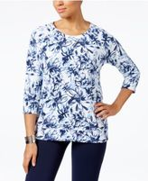 Karen Scott Petite Floral-Print Sweatshirt, Only at Macy's
